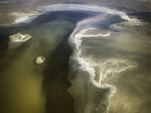 Lake Eyre filling with water from Torrential Rains, 2009